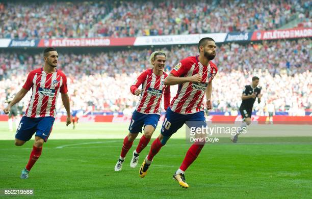 Yannick Carrasco of Club Atletico de Madrid celebrates after scoring his sides 1st goal during the La Liga match between Atletico Madrid and Sevilla...