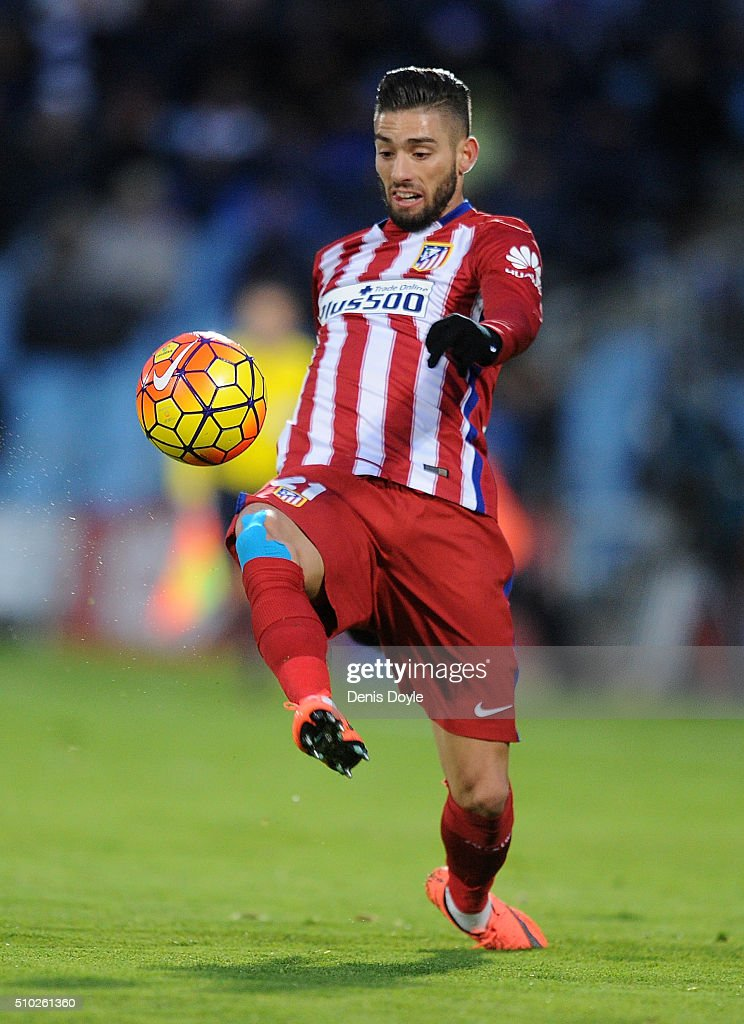 Yannick Carrasco of Club Atletico de Madrid controls the ball during the La Liga match between Getafe CF and Club Atletico de Madrid at Coliseum Alfonso Perez on February 14, 2016 in Getafe, Spain.