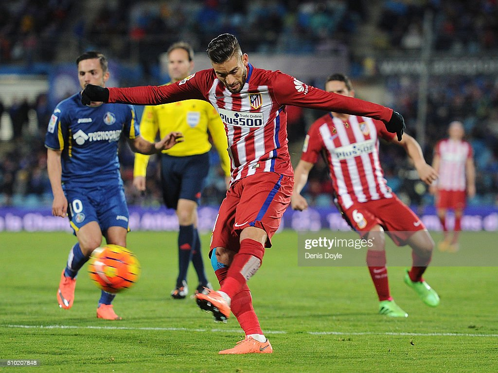 Yannick Carrasco of Club Atletico de Madrid has a shot at goal during the La Liga match between Getafe CF and Club Atletico de Madrid at Coliseum Alfonso Perez on February 14, 2016 in Getafe, Spain.