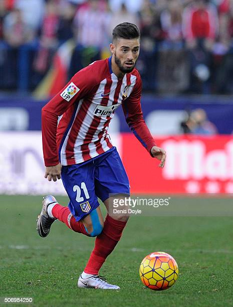 Yannick Carrasco of Club Atletico de Madrid in action during the La Liga match between Club Atletico de Madrid and Sevilla FC at Vicente Calderon...