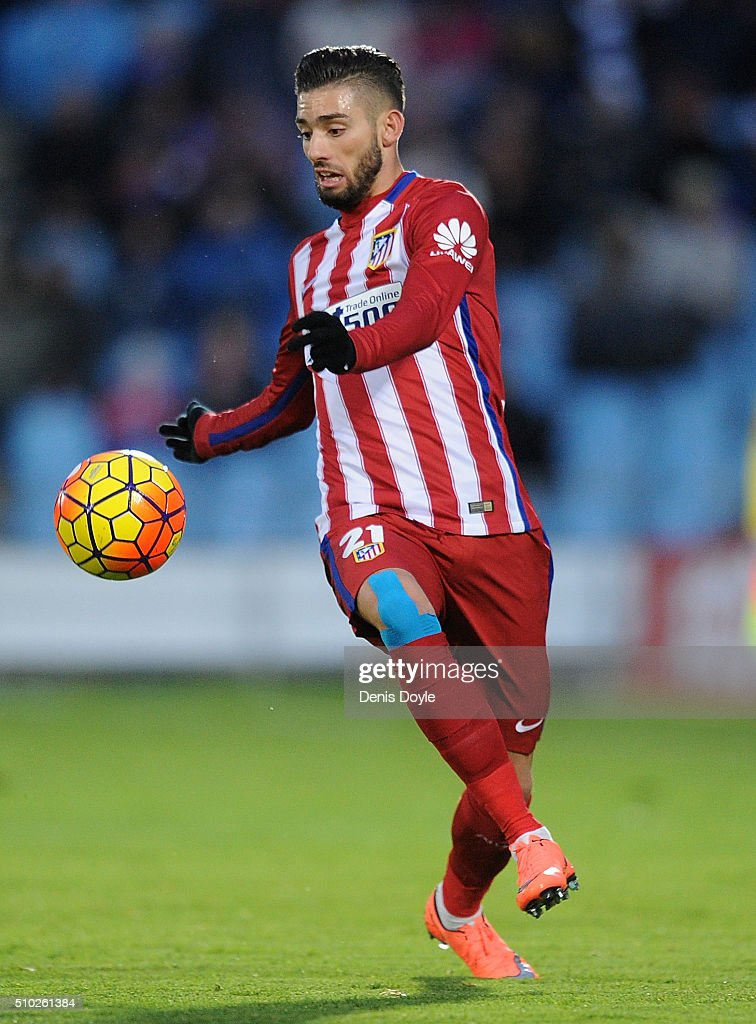 Yannick Carrasco of Club Atletico de Madrid in action during the La Liga match between Getafe CF and Club Atletico de Madrid at Coliseum Alfonso Perez on February 14, 2016 in Getafe, Spain.