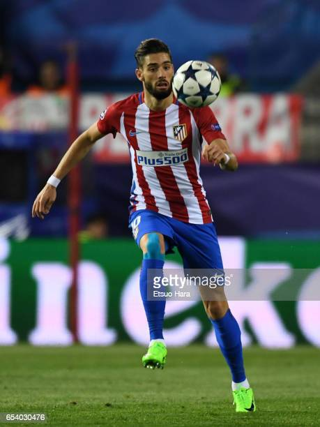 Yannick Carrasco of Club Atletico de Madrid in action during the UEFA Champions League Round of 16 second leg match between Club Atletico de Madrid...