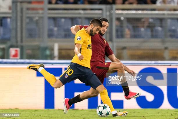 Yannick Carrasco of Club Atletico de Madrid Kostas Manolas of AS Roma during the UEFA Champions League group C match match between AS Roma and...