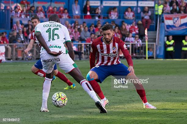 Yannick Carrasco of Club Atletico de Madrid looks on during the La Liga match between Club Atletico de Madrid and Granada CF at Vicente Calderon...