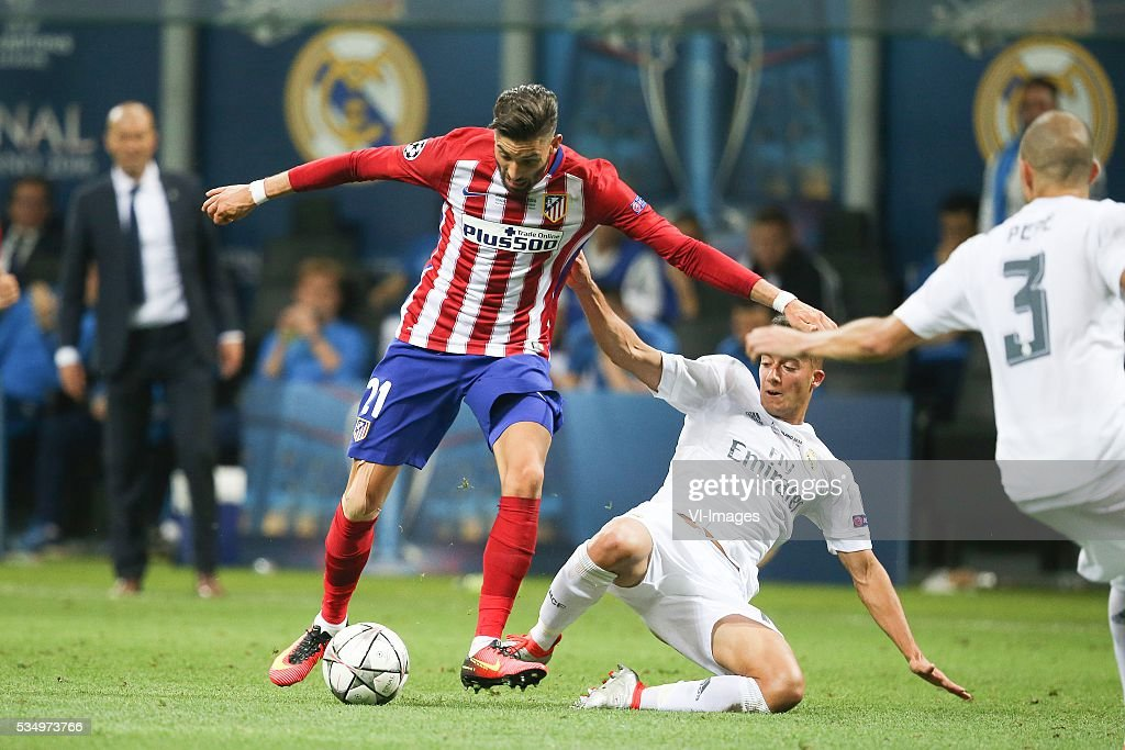Yannick Carrasco of Club Atletico de Madrid, Lucas Vazquez of Real Madrid during the UEFA Champions League final match between Real Madrid and Atletico Madrid on May 28, 2016 at the Giuseppe Meazza San Siro stadium in Milan, Italy.