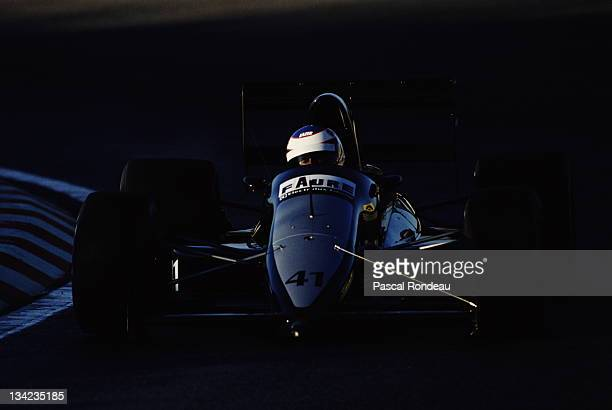 Yannick Dalmas drives the Gonfaronaise Sportive AGS JH24 Ford Cosworth DFR 35 V8 during prequalifying for the Portuguese Grand Prix on 22nd September...