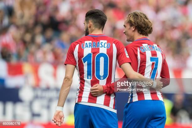 Yannick Ferreira Carrasco of Atletico de Madrid and Antoine Griezmann of Atletico de Madrid react during the La Liga match between Atletico de Madrid...