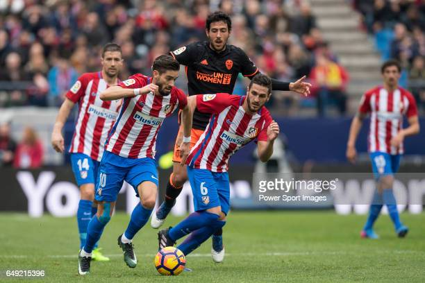Yannick Ferreira Carrasco of Atletico de Madrid and teammate Jorge Resurreccion Merodio Koke during the match Atletico de Madrid vs Valencia CF a La...