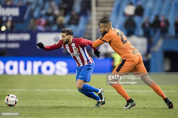 Yannick Ferreira Carrasco of Atletico de Madrid competes for the ball with Tiago Manuel Dias Correia 'Bebe' of SD Eibar during their Copa del Rey...