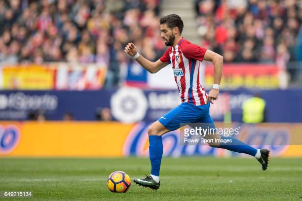 Yannick Ferreira Carrasco of Atletico de Madrid runs with the ball during the match Atletico de Madrid vs Valencia CF a La Liga match at the Estadio...