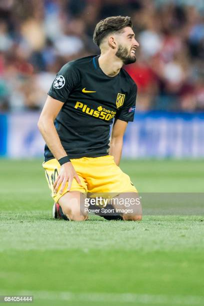 Yannick Ferreira Carrasco of Atletico de Madrid sits on the pitch during their 201617 UEFA Champions League Semifinals 1st leg match between Real...