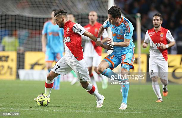 Yannick Ferreira Carrasco of Monaco and Florian Thauvin of OM in action during the French Ligue 1 match between AS Monaco FC v Olympique de Marseille...