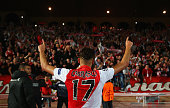 Yannick Ferreira Carrasco of Monaco celebrates qualifying for the next round after the UEFA Champions League round of 16 second leg match between AS...