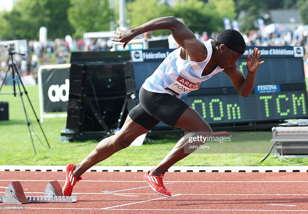Yannick Fonsat of France wins the 400m final during the 2012 French Elite Athletics Championships at the Stade du Lac de Maine on June 17, 2012 in Angers, France.