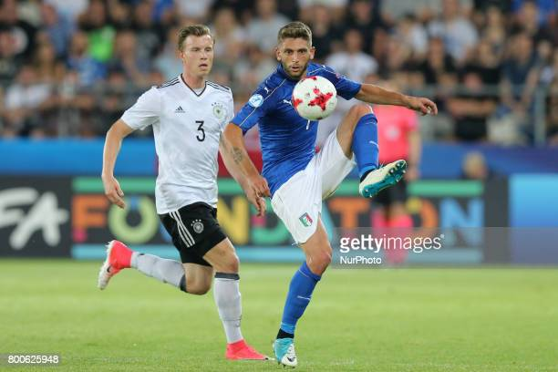 Yannick Gerhardt Domenico Berardi during the UEFA U21 European Championship Group C football match Italy v Germany in Krakow Poland on June 24 2017