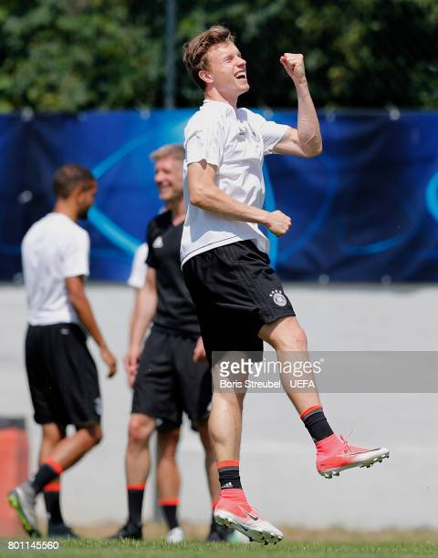 Yannick Gerhardt of Germany celebrate during the MD1 training session of the U21 national team of Germany at stadium Wieliczka on June 26 2017 in...
