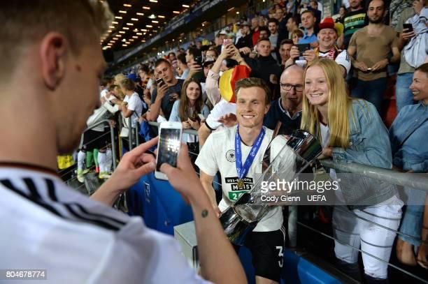 Yannick Gerhardt of Germany celebrates after their UEFA European Under21 Championship 2017 final match against Spain on June 30 2017 in Krakow Poland