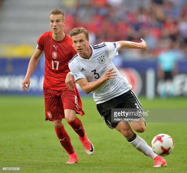 Yannick Gerhardt of Germany gets away from Vaclav Cerny of Czech Republic during the UEFA European Under21 Championship Group C match between Germany...
