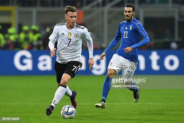 Yannick Gerhardt of Germany in action against Davide Zappacosta of Italy during the International Friendly Match between Italy and Germany at...