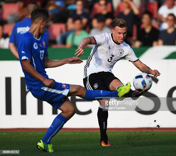 Yannick Gerhardt of Germany is challenged by Lubomir Satka of Slovakia during the Under21 friendly match between U21 Germany and U21 Slovakia at...