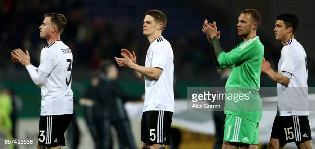 Yannick Gerhardt of Germany Matthias Ginter of Germany Marvin Schwaebe of Germany and Marc Oliver Kempf of Germany are seen after winning the U21...