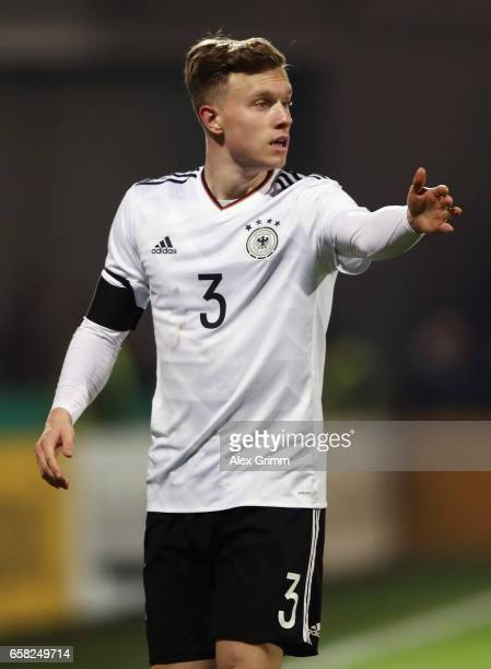Yannick Gerhardt of Germany reacts during the international friendly match between U21 Germany and U21 England at BRITAArena on March 24 2017 in...