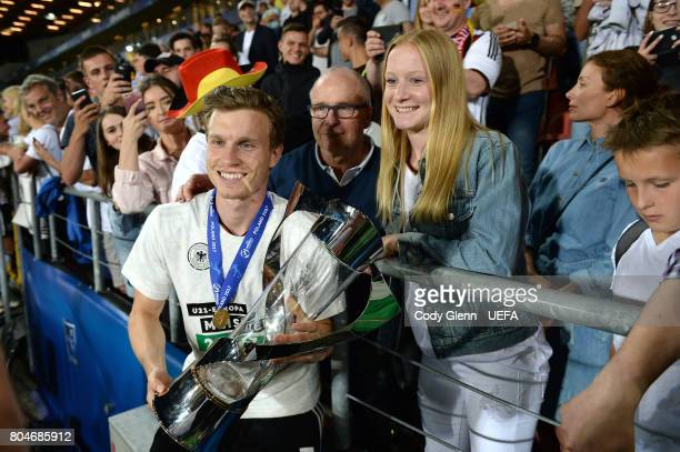 Yannick Gerhardt of Germany with the trophy after their UEFA European Under21 Championship 2017 final match against Spain on June 30 2017 in Krakow...