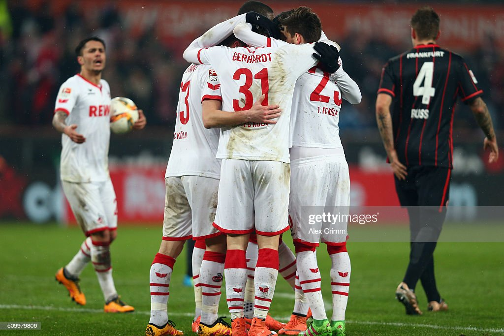 Yannick Gerhardt of Koeln celebrates his team's first goal with team mates during the Bundesliga match between 1. FC Koeln and Eintracht Frankfurt at RheinEnergieStadion on February 13, 2016 in Cologne, Germany.