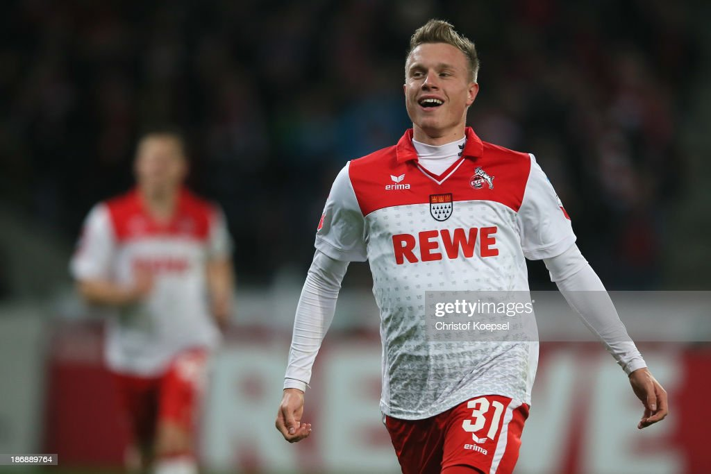 Yannick Gerhardt of Koeln celebrates the third goal during the Second Bundesliga match between 1. FC Koeln and 1. FC Union Berlin at RheinEnergieStadion on November 4, 2013 in Cologne, Germany.