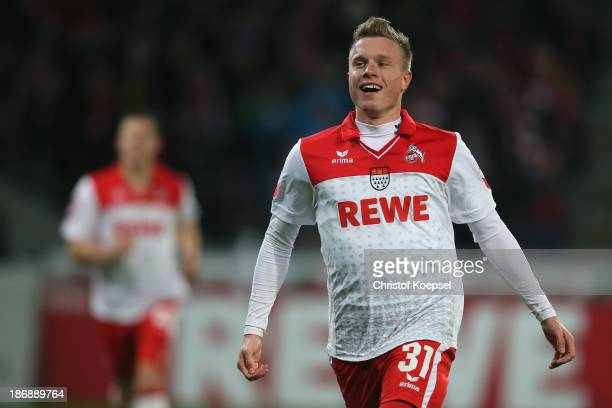 Yannick Gerhardt of Koeln celebrates the third goal during the Second Bundesliga match between 1 FC Koeln and 1 FC Union Berlin at...