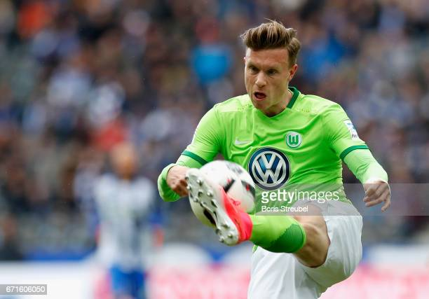 Yannick Gerhardt of VfL Wolfsburg controls the ball during the Bundesliga match between Hertha BSC and VfL Wolfsburg at Olympiastadion on April 22...