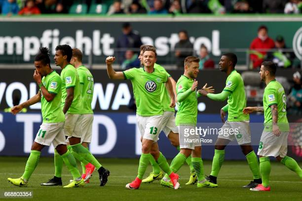 Yannick Gerhardt of Wolfsburg celebrates after he scores his team's opening goal during the Bundesliga match between VfL Wolfsburg and FC Ingolstadt...