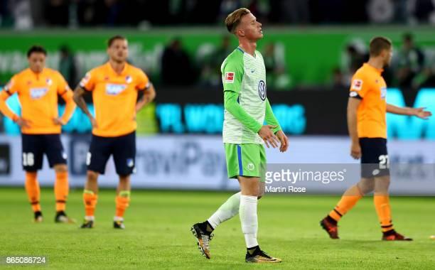 Yannick Gerhardt of Wolfsburg reacts after the Bundesliga match between VfL Wolfsburg and TSG 1899 Hoffenheim at Volkswagen Arena on October 22 2017...