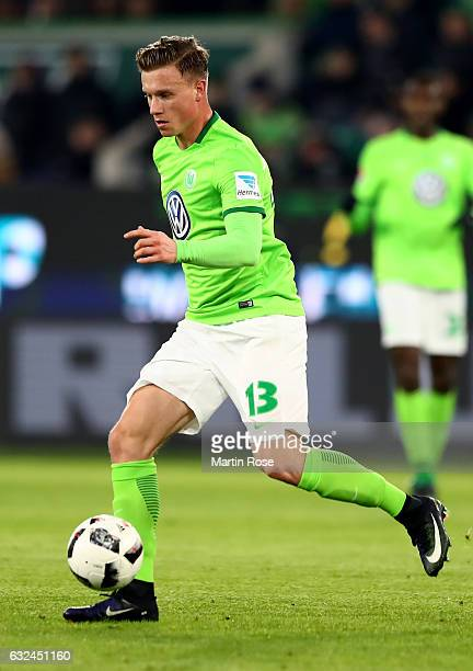 Yannick Gerhardt of Wolfsburg runs with the ball during the Bundesliga match between VfL Wolfsburg and Hamburger SV at Volkswagen Arena on January 21...