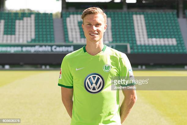 Yannick Gerhardt poses during the official team presentation of VfL Wolfsburg at Volkswagen Arena on September 14 2016 in Wolfsburg Germany