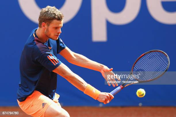 Yannick Hanfmann of Germany during his qualification match against Alexander Bublik of Kazakhstan for the 102 BMW Open by FWU at Iphitos tennis club...
