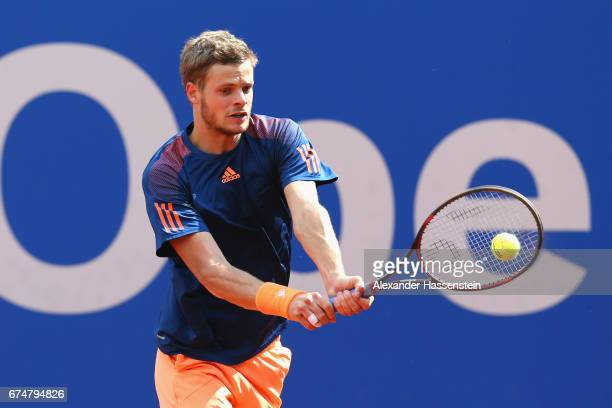 Yannick Hanfmann of Germany during his qualification match against Julien Benneteau of France for the 102 BMW Open by FWU at Iphitos tennis club on...