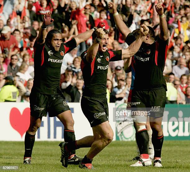 Yannick Jauzion the Toulouse centre celebrates afer winning the Heineken Cup Final between Stade Francais and Toulouse at Murrayfield on May 22 2005...