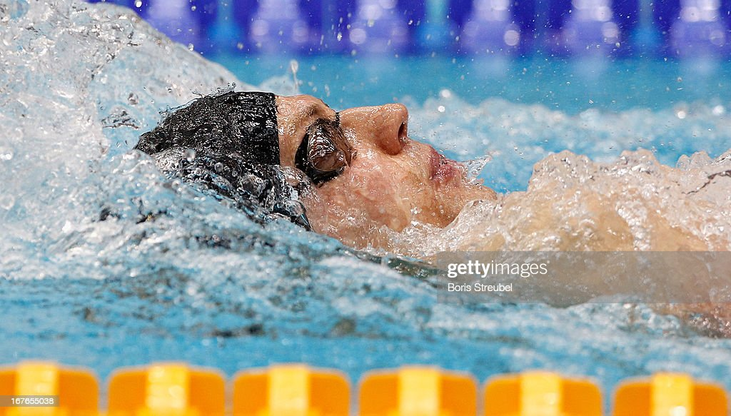 Yannick Lebherz of Potsdamer SV competes in the men's 200m backstroke A final during day two of the German Swimming Championship 2013 at the Eurosportpark on April 27, 2013 in Berlin, Germany.