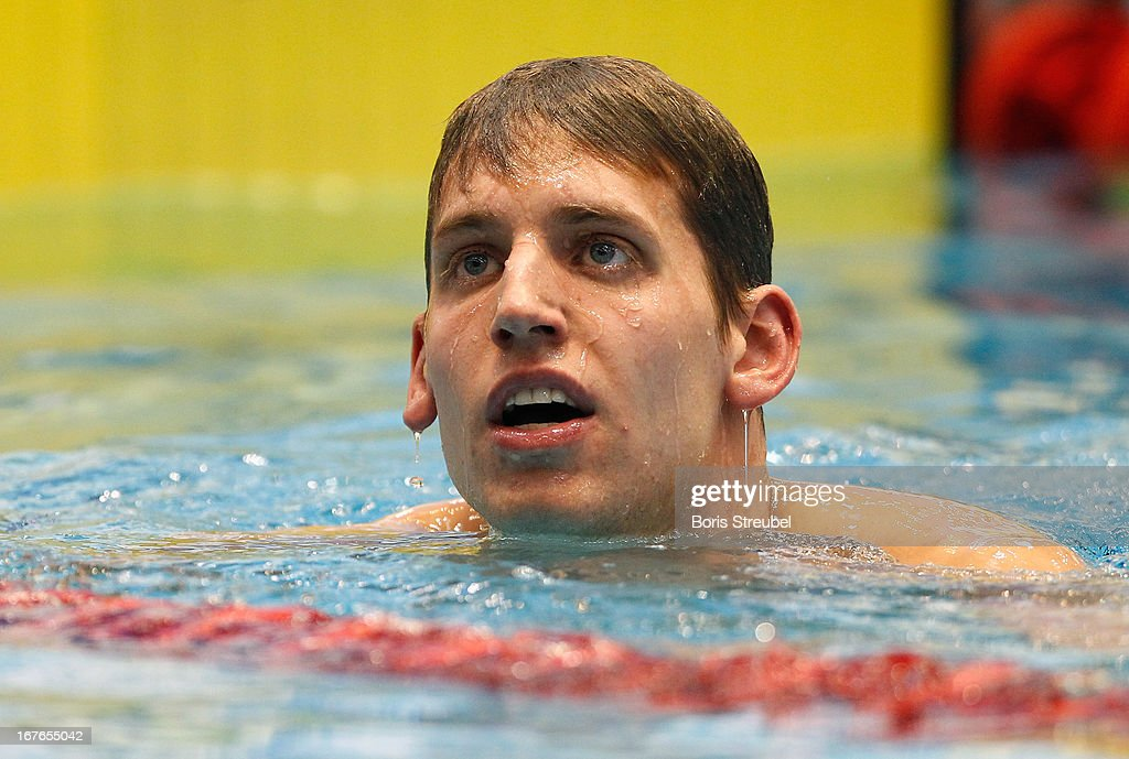 Yannick Lebherz of Potsdamer SV looks on after winning the men's 200m backstroke A final during day two of the German Swimming Championship 2013 at the Eurosportpark on April 27, 2013 in Berlin, Germany.