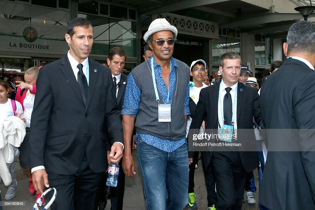 <a gi-track='captionPersonalityLinkClicked' href=/galleries/search?phrase=Yannick+Noah&family=editorial&specificpeople=215249 ng-click='$event.stopPropagation()'>Yannick Noah</a> attends the 2016 French Tennis Open - Day Four at Roland Garros on May 25, 2016 in Paris, France.