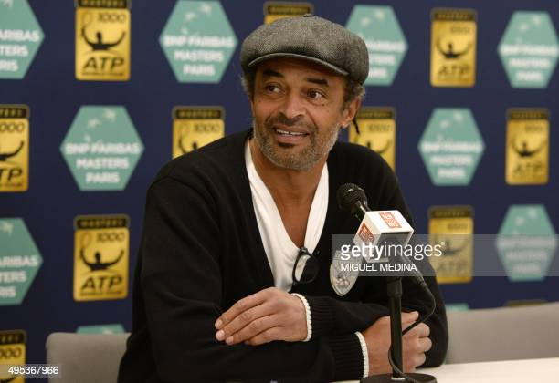 Yannick Noah former French tennis player and captain of the French Davis Cup team delivers a press conference during the ATP World Tour Masters 1000...