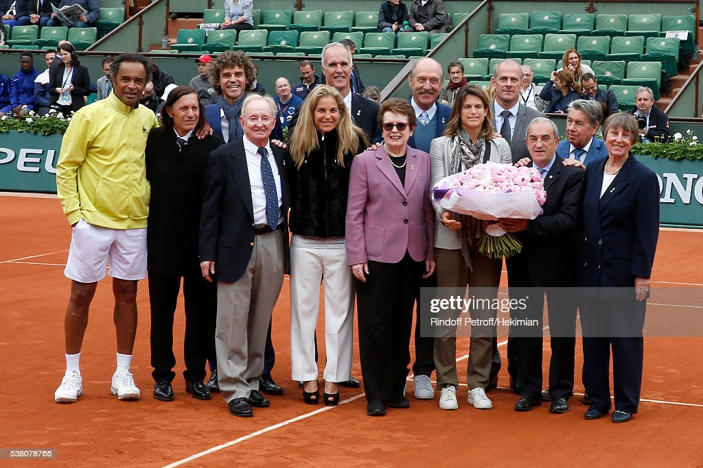 Yannick Noah, Guillermo Villas, Gustavo Kuerten, Rod Laver, Arantxa Sanchez, Todd Martin, Billie Jean King, Stan Smith, Amelie Mauresmo, President of French Tennis Federation Jean Gachassin, Director of Roland Garros tournament, Guy Forget, Manuel Santana attend Amelie Mauresmo entered the 'Hall of Fame' of Tennis and receves the Ring of the 'International Tennis Hall of fame' during Day Fourteen, Women single's Final of the 2016 French Tennis Open at Roland Garros on June 4, 2016 in Paris, France.