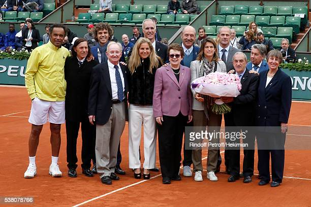 Yannick Noah Guillermo Villas Gustavo Kuerten Rod Laver Arantxa Sanchez Todd Martin Billie Jean King Stan Smith Amelie Mauresmo President of French...