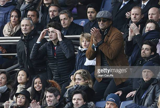 Yannick Noah his son Joalukas Noah above them former French President Nicolas Sarkozy and President of PSG Nasser AlKhelaifi attend the French Ligue...