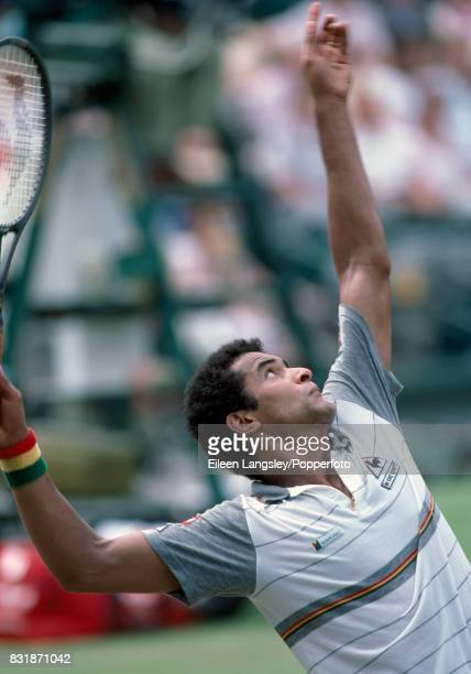 Yannick Noah of France in action during a men's singles match at the Wimbledon Lawn Tennis Championships in London circa June 1985 Noah was defeated...