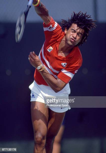 Yannick Noah of France in action during the Lipton International Players Championships at the Tennis Center at Crandon Park in Key Biscayne Florida...