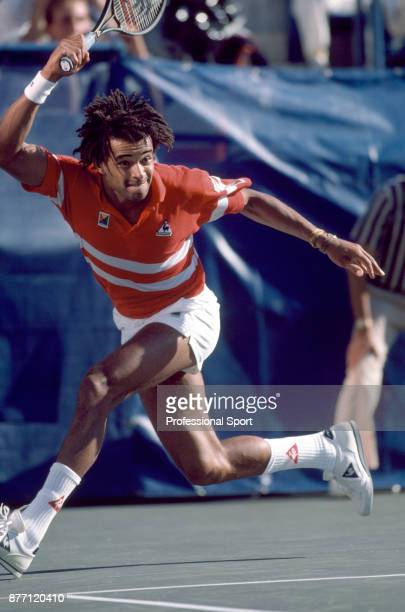 Yannick Noah of France in action during the US Open at the USTA National Tennis Center circa September 1986 in Flushing Meadow New York USA