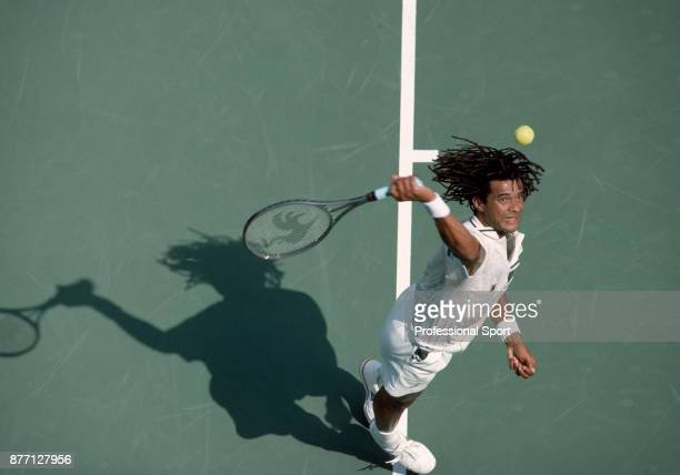 Yannick Noah of France in action during the US Open at the USTA National Tennis Center circa September 1988 in Flushing Meadow New York USA