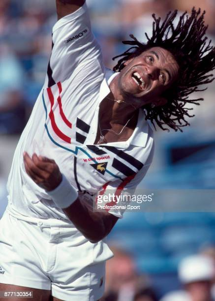 Yannick Noah of France in action during the US Open at the USTA National Tennis Center circa September 1990 in Flushing Meadow New York USA
